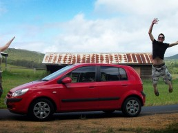 Jonny leaping whilst parked up after driving abroad in australia