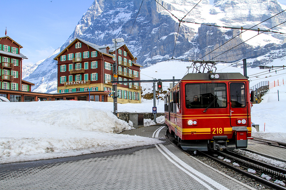 Jungfraubahn heading to the top. Switzerland by train