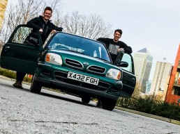 Jonny and George stand besides their Mongol Rally Car